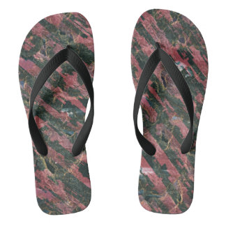 Abstract Urban Distorted Lines Background Pink Flip Flops