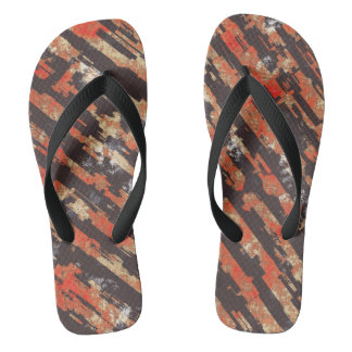 Abstract Urban Distorted Lines Background Red Flip Flops
