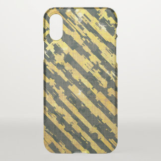 Abstract Urban Distorted Lines Background Yellow iPhone X Case