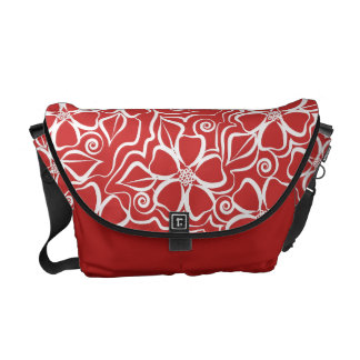 Abstract Urban Floral White & Brick Red Courier Bags