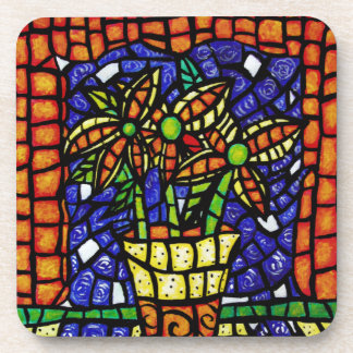 Abstract Vase Of Flowers Coaster