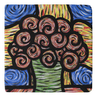 Abstract Vase Of Flowers Colors In Motion Trivet