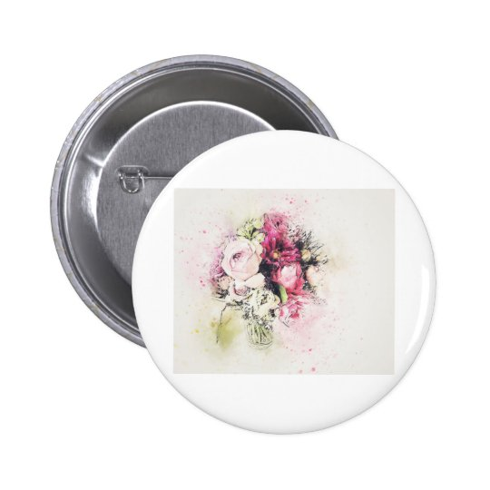 Abstract vase of flowers for wedding 2 inch round button
