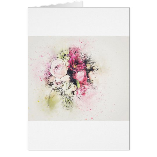 Abstract vase of flowers for wedding card