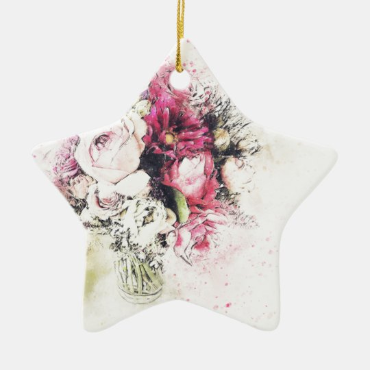 Abstract vase of flowers for wedding ceramic star ornament