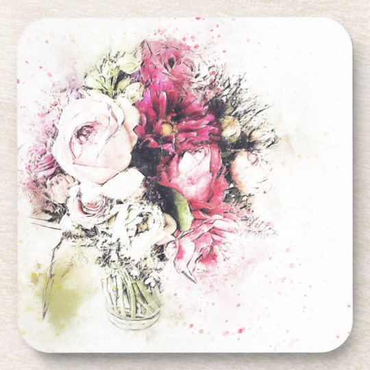 Abstract vase of flowers for wedding coaster