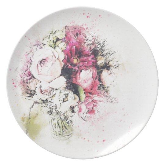 Abstract vase of flowers for wedding dinner plates