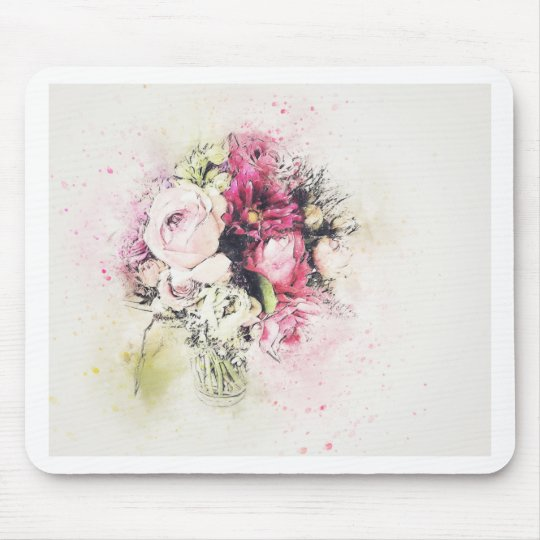 Abstract vase of flowers for wedding mouse pad
