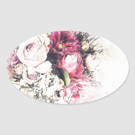 Abstract vase of flowers for wedding oval sticker