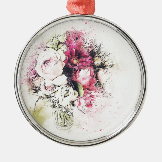 Abstract vase of flowers for wedding Silver-Colored round ornament
