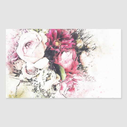 Abstract vase of flowers for wedding sticker