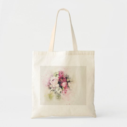 Abstract vase of flowers for wedding tote bag