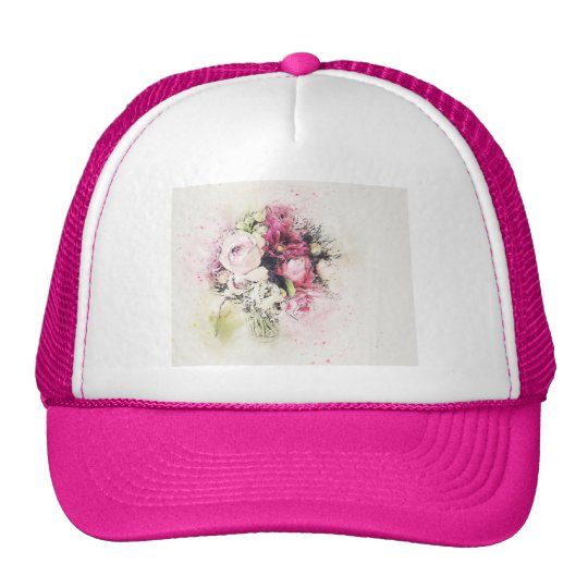 Abstract vase of flowers for wedding trucker hat