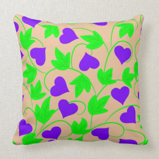 Abstract Vector floral background hearts Throw Pillow