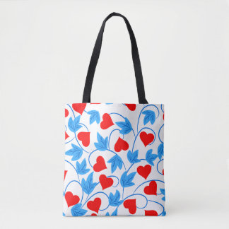 Abstract Vector floral background hearts Tote Bag