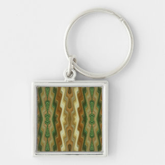Abstract Vertical Striped Pattern Silver-Colored Square Keychain