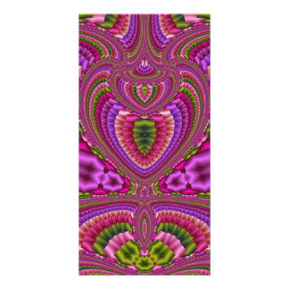 Abstract vibrant colorful fractal hearts photo cards