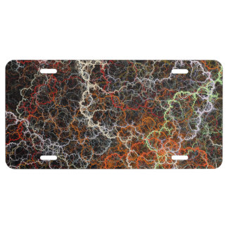 Abstract vibrant colorful fractal wires license plate