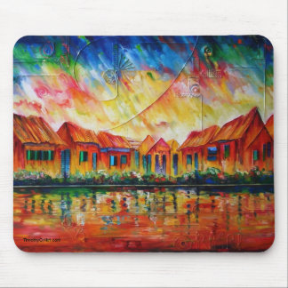 Abstract Village Cityscape XX - Mousepad