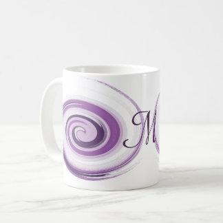 Abstract violet brush strokes spiral.Monogram. Coffee Mug