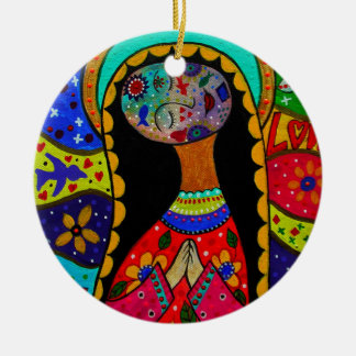 ABSTRACT VIRGIN GUADALUPE ROUND CERAMIC ORNAMENT