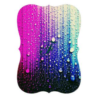 "Abstract wall painting pink turqouise raindrops 5"" x 7"" invitation card"