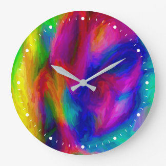 Abstract Water Colors Large Clock