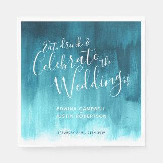 Abstract watercolor art teal aqua wedding napkins