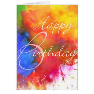 Abstract Watercolor Birthday Card Greeting Card