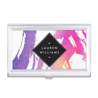 Abstract Watercolor Brushstrokes Personalized Business Card Holder