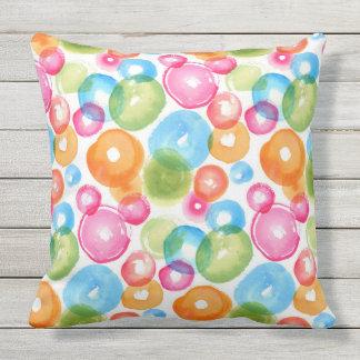 Abstract Watercolor Circles Outdoor Pillow