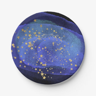 Abstract Watercolor Cobalt Blue Navy  Party Stars Paper Plate