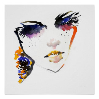 Abstract Watercolor colorful woman makeup branding Poster