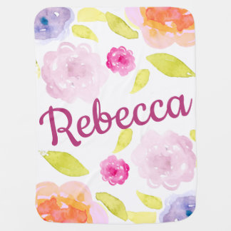 Abstract Watercolor Floral Flower Personalize Name Baby Blanket