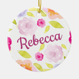 Abstract Watercolor Floral Flower Personalize Name Ceramic Ornament