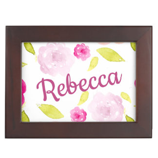 Abstract Watercolor Floral Flower Personalize Name Keepsake Box