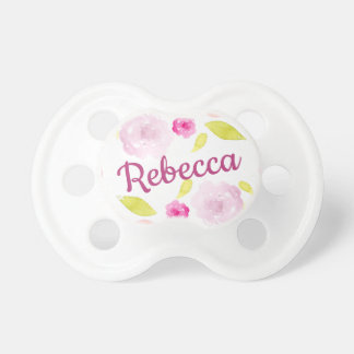 Abstract Watercolor Floral Flower Personalize Name Pacifier