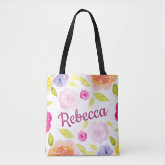 Abstract Watercolor Floral Flower Personalize Name Tote Bag