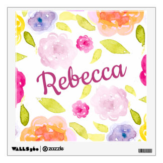 Abstract Watercolor Floral Flower Personalize Name Wall Sticker