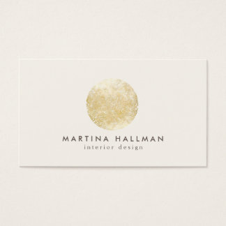 Abstract Watercolor Gold Circle Logo on Ivory Business Card