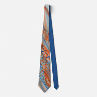 Abstract watercolor graphic in rust and blue tie