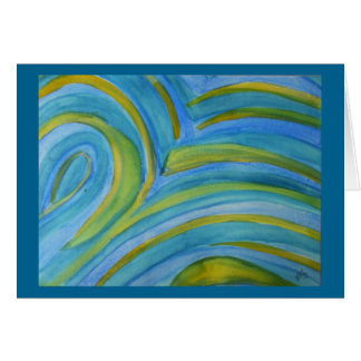 Abstract watercolor in blues and greens card