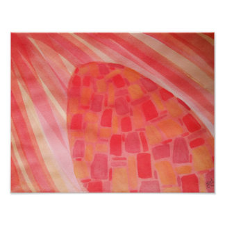 Abstract watercolor in warm colors poster