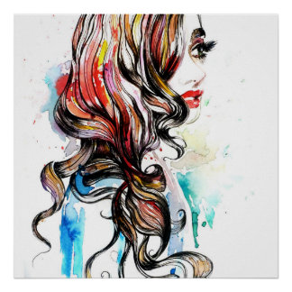 Abstract Watercolor ink colorful woman makeup Poster