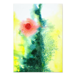 Abstract watercolor landscape sun card