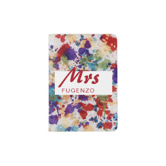 Abstract Watercolor Paint Splatter - Customize it! Passport Holder