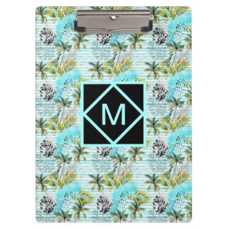 Abstract Watercolor Palm Tree Pattern Clipboard
