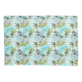 Abstract Watercolor Palm Tree Pattern Pillowcase