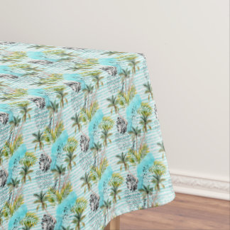 Abstract Watercolor Palm Tree Pattern Tablecloth