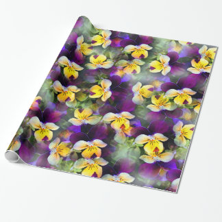 Abstract Watercolor Pansies Wrapping Paper
